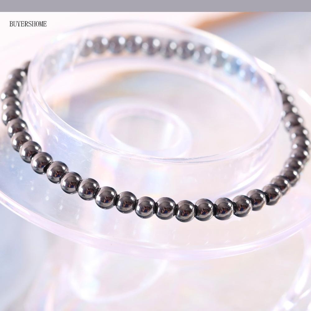 Pulsera redonda de hematita para pérdida de peso y estiramiento de cordón de 4MM para hombres y mujeres, pulsera de terapia antifatiga H370