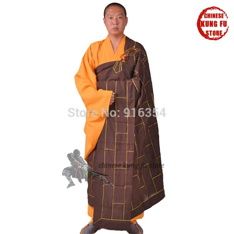 Vestido de monje budista marrón oscuro Zuyi Kesa Sock con traje Haiqing Zen budismo traje de meditación Shaolin Kung fu uniformes