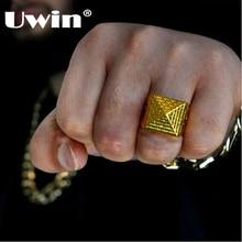 Uwin nouveauté Cool pyramide modèle hommes rétro Style or couleur anneau essuyer noir motif Hip hop mode 8-11 anneaux livraison directe