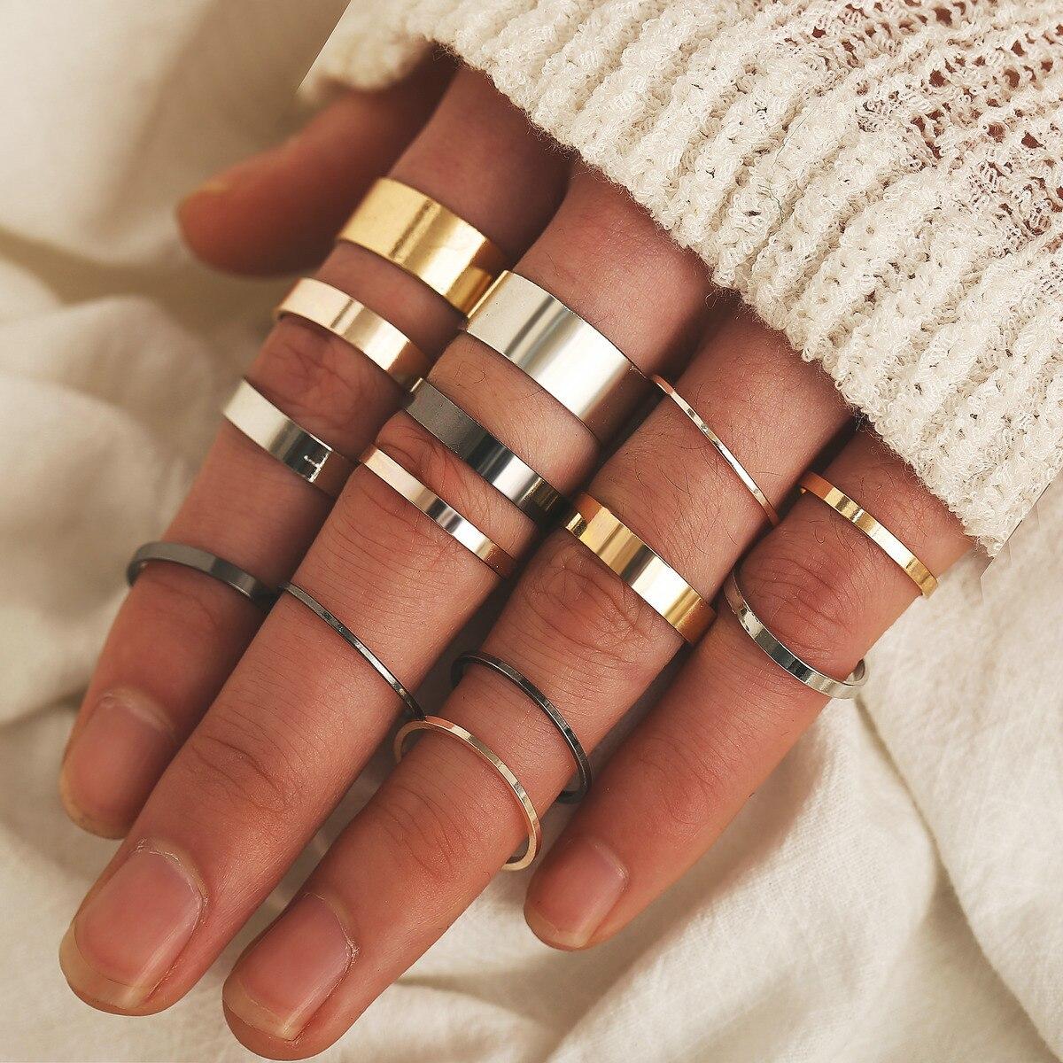 14 pçs/set simples design redondo ouro cor anéis conjunto para as mulheres artesanal geometria dedo anel conjunto feminino jóias presentes