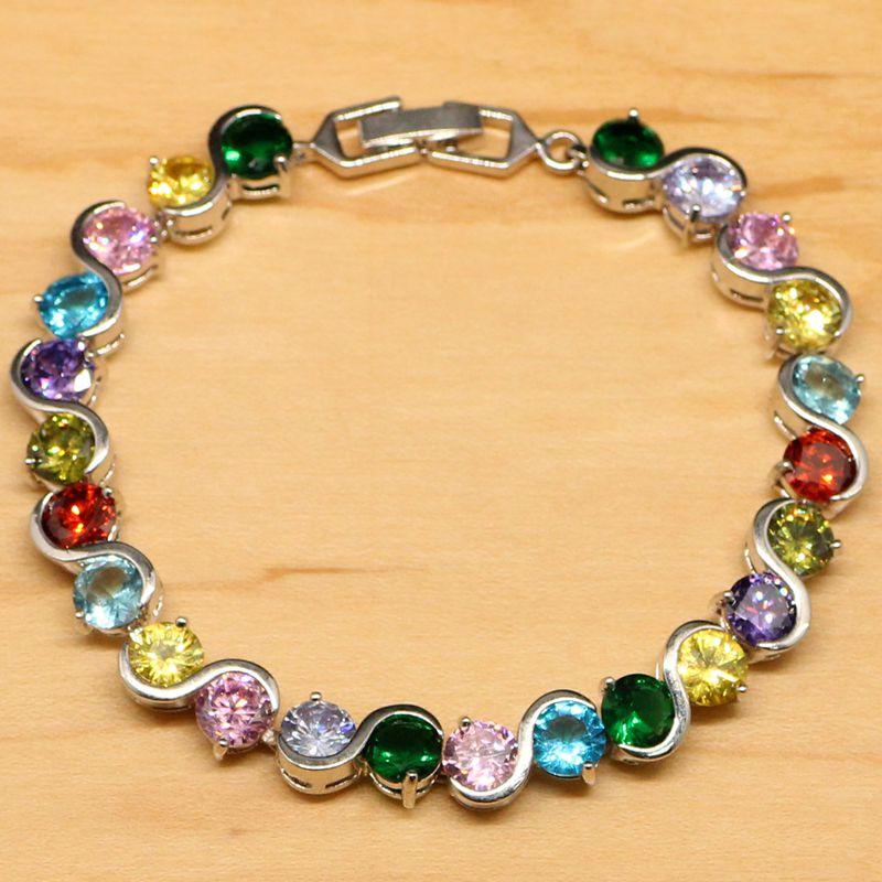 Mystic Multicolor fuego CZ diseño aerodinámico de la joyería de la plata esterlina 925 pulsera del encanto para las mujeres