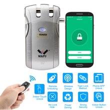 Беспроводной смарт-Дверной замок WAFU 010 Вт, электронный дверной замок без ключа, дистанционное управление через приложение, разблокировка с 4 удаленными клавишами