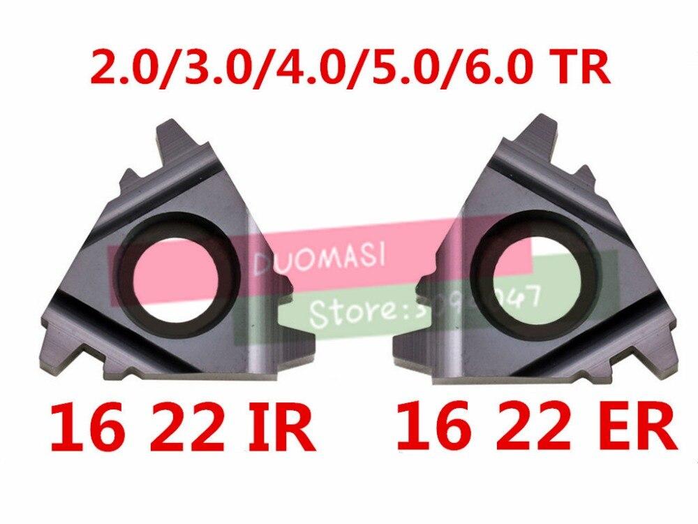10 pcs 16ER 16IR 22ER 22IR 1.5/2.0/2.5/3.0/4/5/6/ 4.0/5.0/6.0TR Indexáveis Tungstênio Threading Torno Inserções Trapen Ferramenta