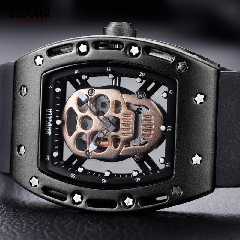 Мужские кварцевые часы BAOGELA, кварцевые аналоговые часы с скелетом и черепом, спортивные наручные часы с силиконовым ремешком, 1612-черная-розовая