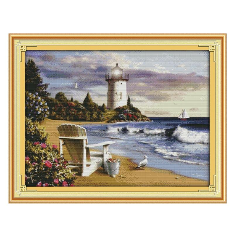 Joy Sunday crossstitch el faro mar playa DMC14CT11CTcottonfabric sala de estar diningall restaurante casa hotel pintura
