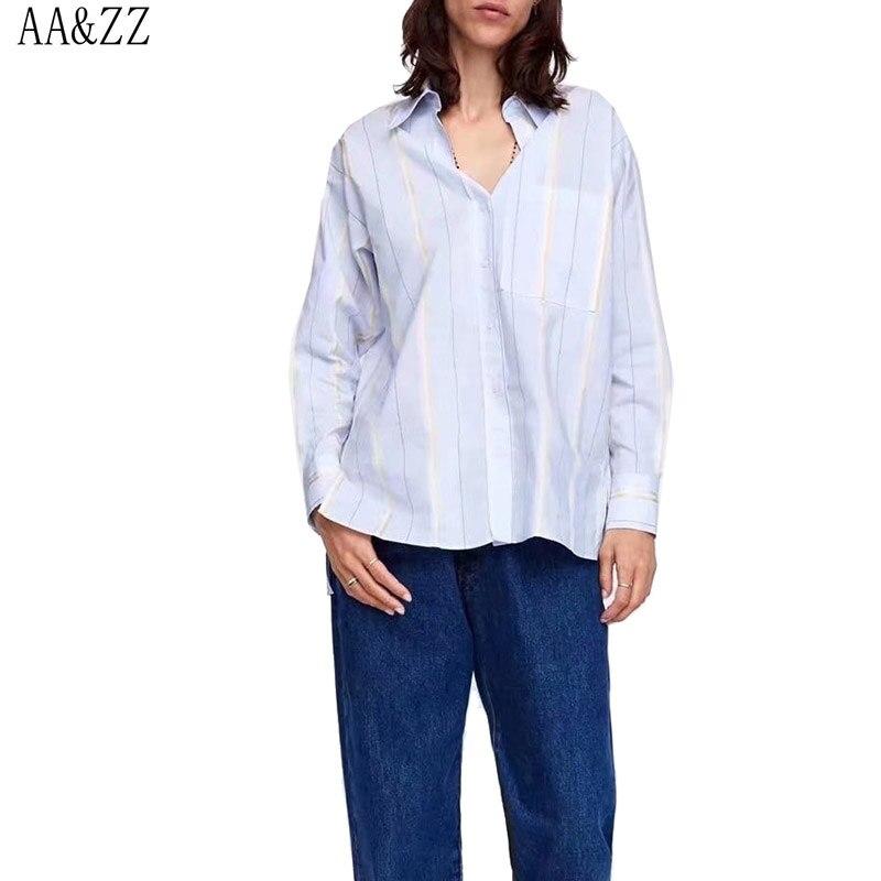 AA & ZZ moda Mujer rayas bolsillos blusa cuello vuelto manga larga Feamle camisas overoles Casual marca Blusas Mujer