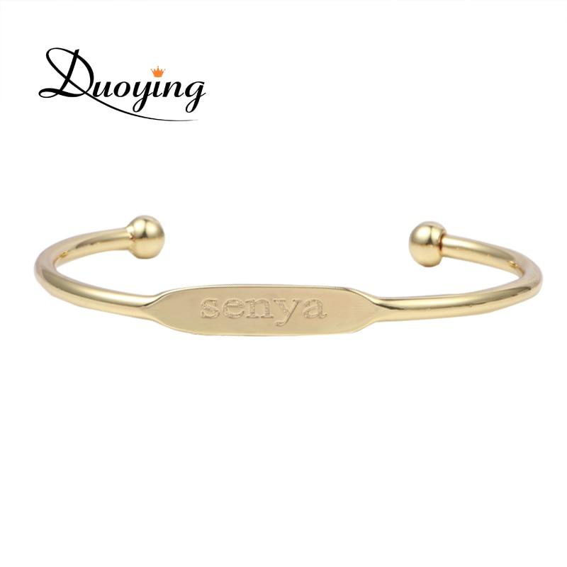 Детский модный браслет DUOYING, браслет с индивидуальным именем, медный браслет с выгравированным именем, золотой браслет с сердечками для Amazon
