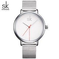 Shengke Luxury Top Brand Women Watch Business Watches Lady Clock Wristwatch Silver Mesh Belt Fashion Women's Relogio Feminino