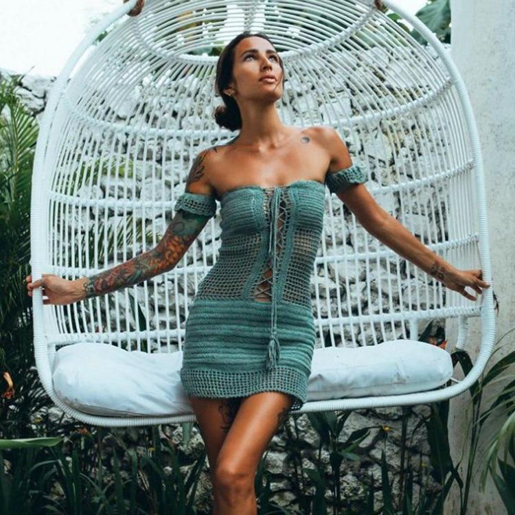 Sexy Swimsuit Knitted Tunics For Beach Bikini Cover Ups Crochet Beach Dress Pareos Womens Swim Wear Bathing Suit Cover