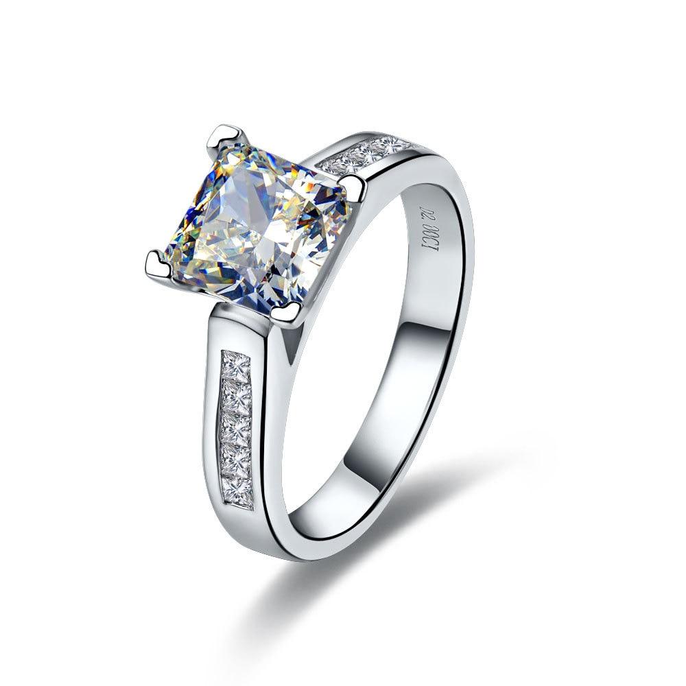 2CT corte princesa Diamante fino las mujeres anillo de boda anillo de plata maciza de 18 quilates de oro blanco cubierta de