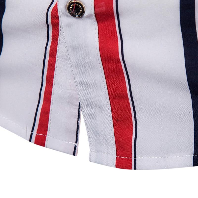 Camisas de rayas de primavera para hombre, mangas largas, Tops casuales para hombre NFE99