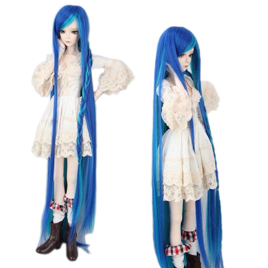 "[wamami] Blue & Green Pigtail Long Straight Wig For 1/3 SD AOD DZ BJD Dollfie 8-9"""