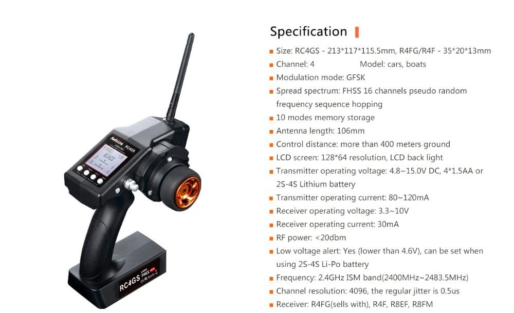 Radiolink rc4gs 2.4g 4ch controlador do carro transmissor + r6fg gyro dentro receptor para rc carro barco (400m distância)