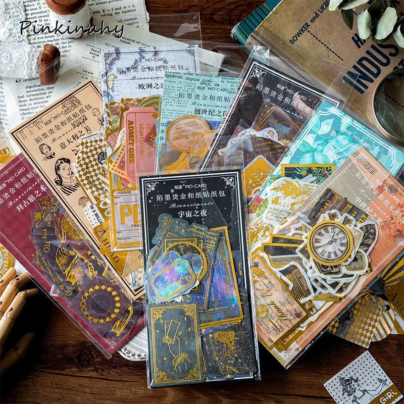 60 pcs/pack Vintage bronzing Starry Sky Map Tickets Letter Travel Tropical Vibes Sticker DIY Scrapbooking Sticker Escolar