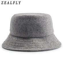 Autumn And Winter Skiing Keep Warm Woolen Fisherman Hat Men Hip Hop Adjustable Solid Cap Women Wool Felt Bucket Hats