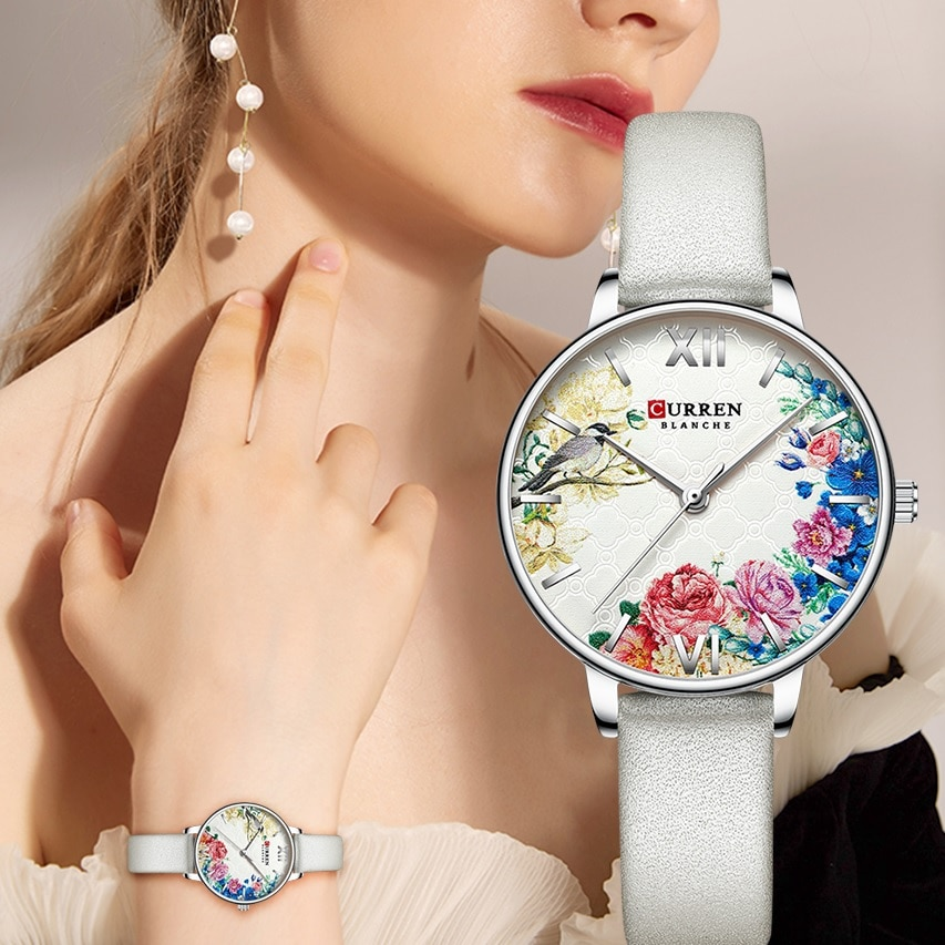 CURREN Silver Lady Watch Flower Simple Ultra-thin White Leather Belt Bracelet Quartz Fashion Wristwatch Reloj Mujer Girl Present enlarge