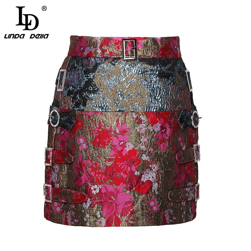 LD LINDA DELLA New Fashion Designer Summer Pencil Skirts Women Vintage Printed Mini Short Skirts High Quality