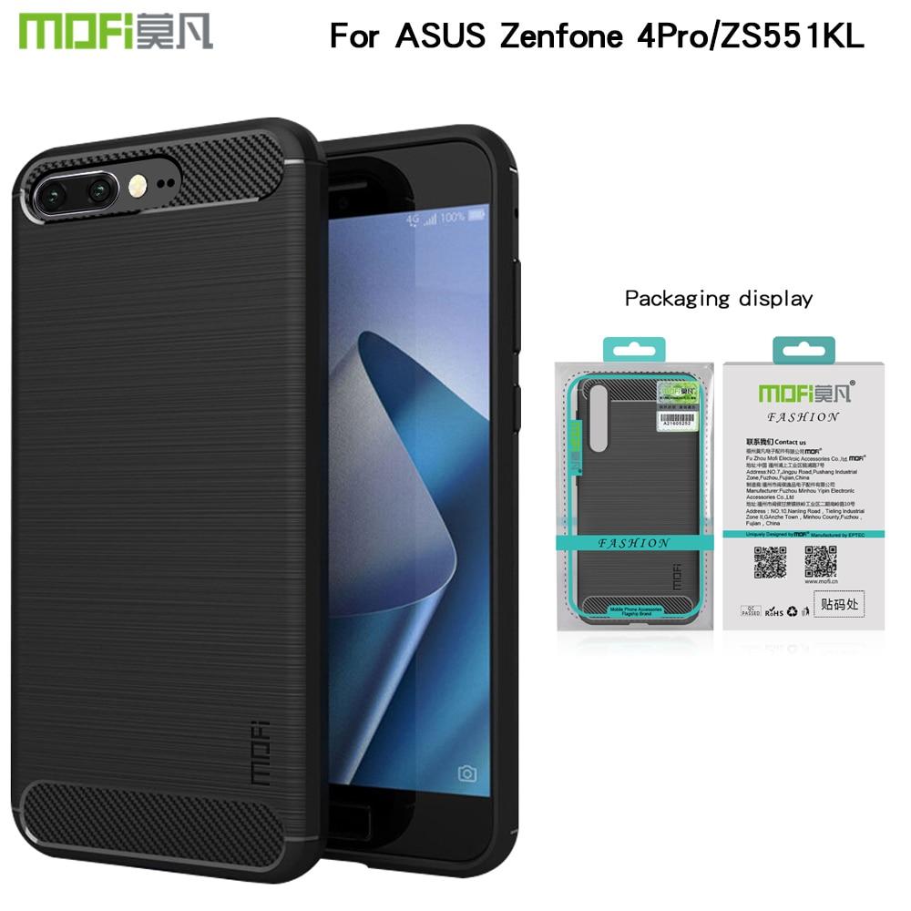 "Funda protectora de MOFI para Asus ZenFone 4 Pro ZS551KL 5,5 ""fundas de fibra de carbono fundas de teléfono de silicona suave TPU trasera cubierta"