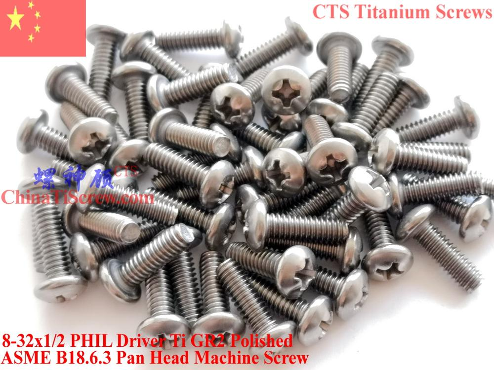 Parafusos de titânio 8-32x1/2 cabeça de panela 2 # phillips driver ti gr2 50 peças