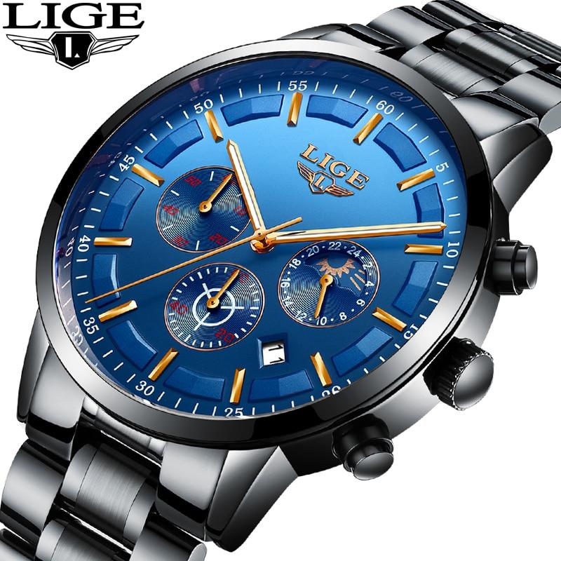 New LIGE Mens Watches Business Top Luxury Brand Full Steel Quartz Watch Mens Military Waterproof Sports Watch Relogio Masculino