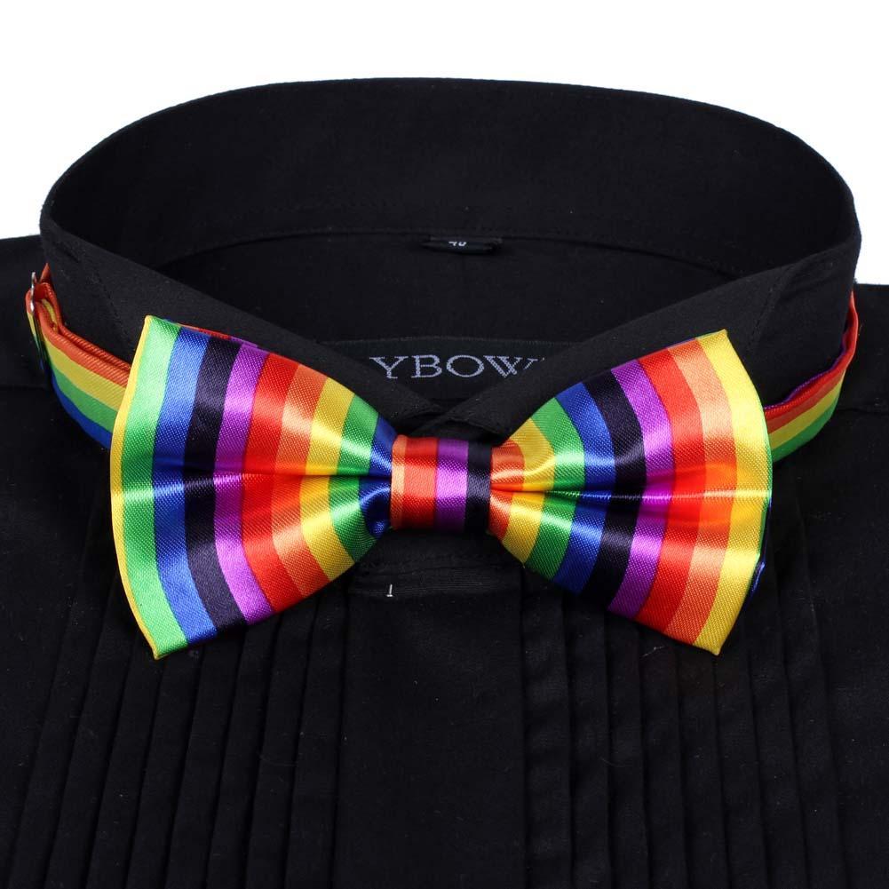 Горячая Мужская атласная галстук-бабочка Dickie предварительно завязанный свадебный смокинг галстук-бабочка Вертикальная Радуга