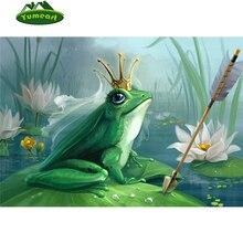 Couronne de Prince grenouille en broderie   Bricolage, style conte de fées 3D, peinture en diamant, animal, décor de broderie, Lotus, mosaïque, étang