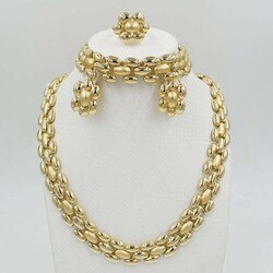 Новый комплект ювелирных изделий из Дубаи, ожерелье, браслет, женские индийские элегантные свадебные для вечеринки, модные круглые шарики д...