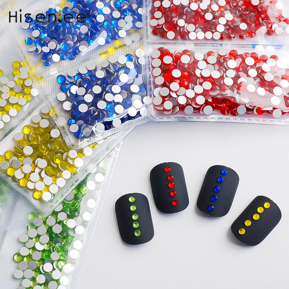 Top quality never fades 28 colors small size 1728pcs nails glitter rhinestone crystal glass gem nail