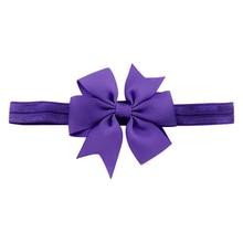 1 Piece Baby Girls Hair Bow Tie Ribbon Decor Hairband Headband (Purple)