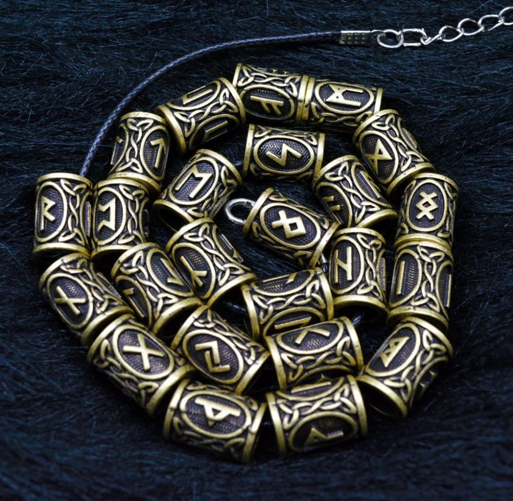 24pcs/bag Braiding Beads Hair Beard Beads Rune Beads and Pull Hair Pin with Velvet Pouch for Hair Braiding Bracelet Necklace DIY