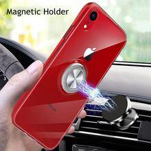 Pour iphone 11 Pro XS Max XR X 10 Couverture En Silicone Souple Pour iphone 8 7 plus 6 s 6 s plus Magnétique Anneau En Métal Clair Cas 11pro