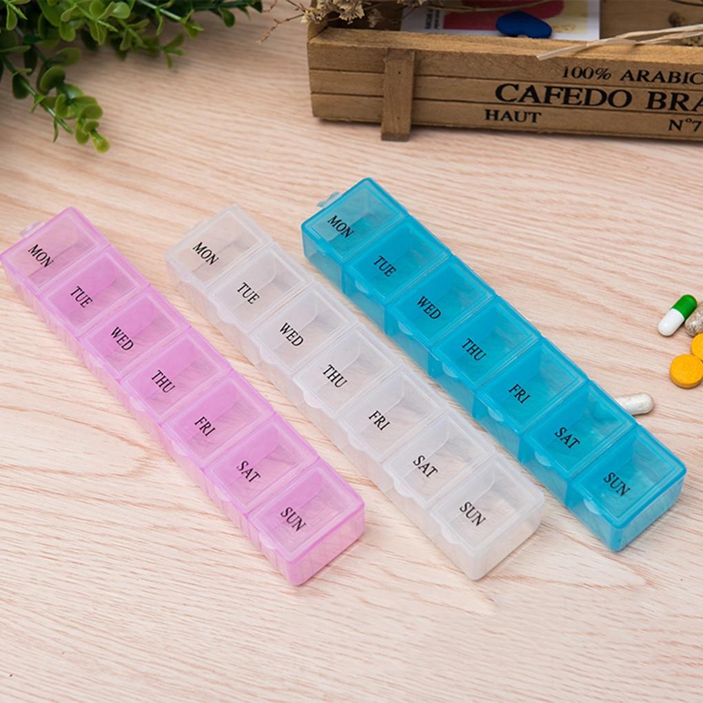 7 dia pílula organizador semanal caixa de pílula caso letras design grandes compartimentos vitaminas tablet recipiente alta qualidade
