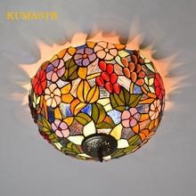 16 pouces jardin raisins fleurs Plafonnier LED Plafonnier Tiffany vitrail LED plafonniers pour chambre salon