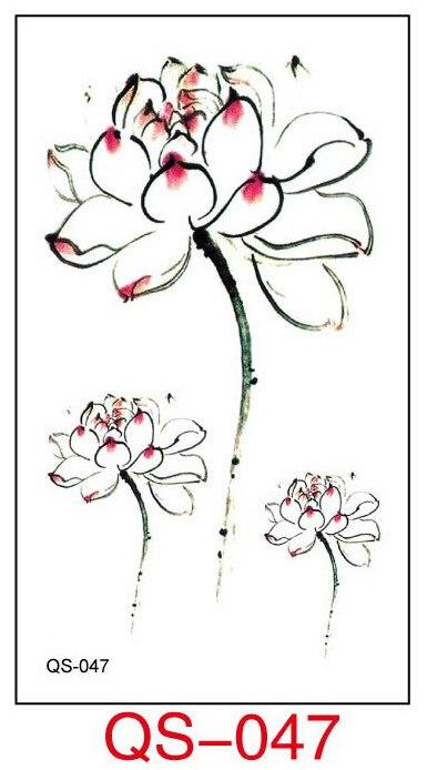 Tatuaje temporal a prueba de agua pegatinas blanco lotusflower tatuaje falso figura geométrica de animal Flash tatuaje mano parte trasera del pie para chica mujeres hombres
