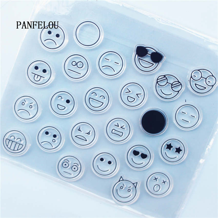 Sellos transparentes de silicona con cara sonriente de PANFELOU, dibujos animados para álbum de recortes, álbum de Navidad para boda DIY