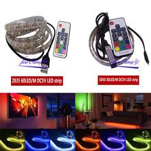 LED bande lumière 5050 2835 SMD RGB barre TV blanc Kit déclairage + 17Key RGB USB télécommande DC5V