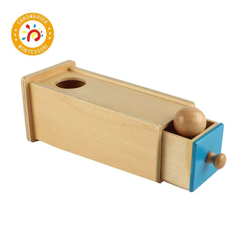 Juguete Montessori para niños, bola de madera para bebés, cajón Rectangular, entrenamiento preescolar