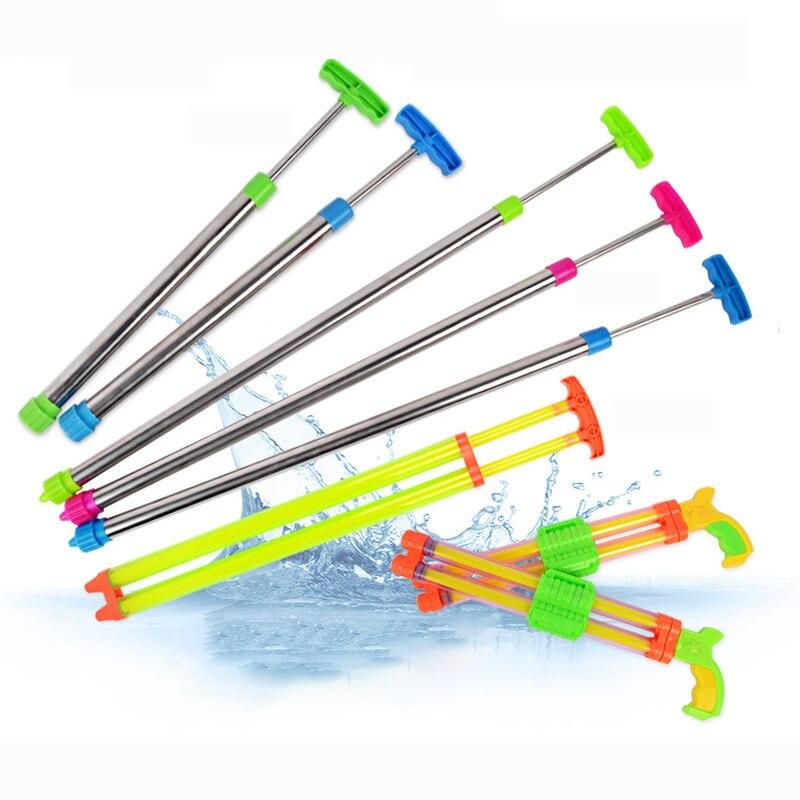 Outdoor Fun Summer Pulling type Water Cannon Stainless Steel Swim Sprayer Toy For Kids Children Beach Water Guns Water Shooter