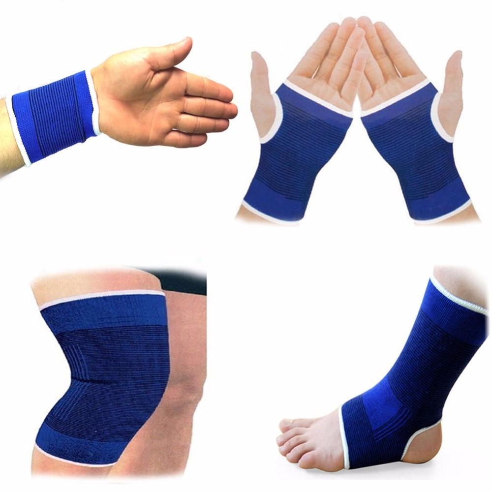 Almohadillas elásticas para rodilla, de color azul, para soporte de rodilla, para artritis de pierna, lesión en el gimnasio, soporte de vendaje elástico para el tobillo 1 par
