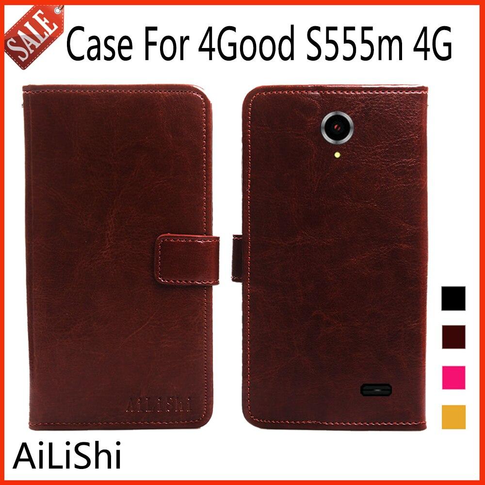 AiLiShi Caso de Couro Da Aleta Para 4 Bom S555m 4G Caso De Luxo Livro Estilo Capa Protetora Saco Do Telefone Carteira 4 cores!