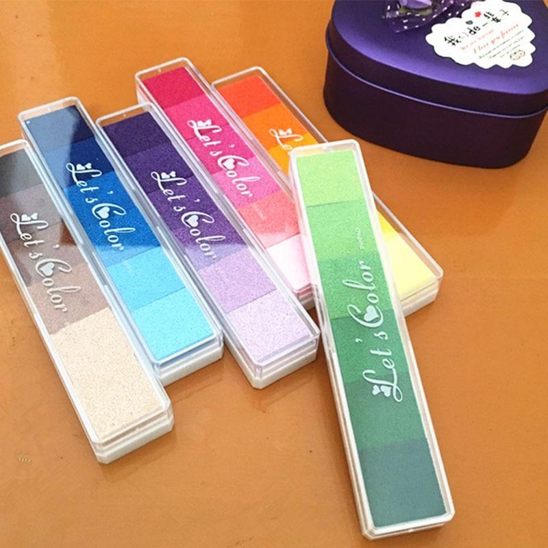 1pc 6 צבעים שיפוע כרית דיו קרפט שמן מבוסס DIY דיו רפידות טביעות אצבע חותמת Pad עבור רעיונות קישוט ילדי מתנה