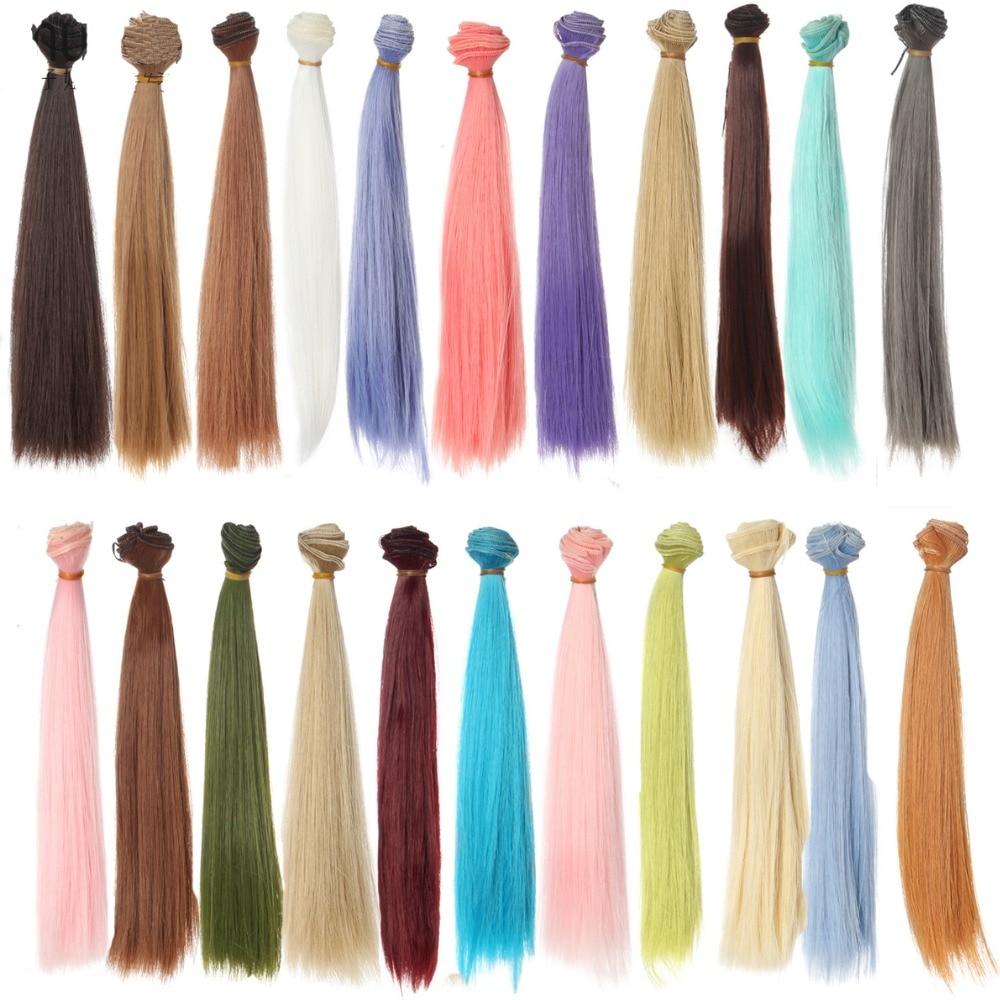 1 шт. волосы refires bjd волосы 25 см * 100 см черный розовый коричневый хаки белый серый цвет длинный парик с прямыми волосами для 1/3 1/4 BJD diy