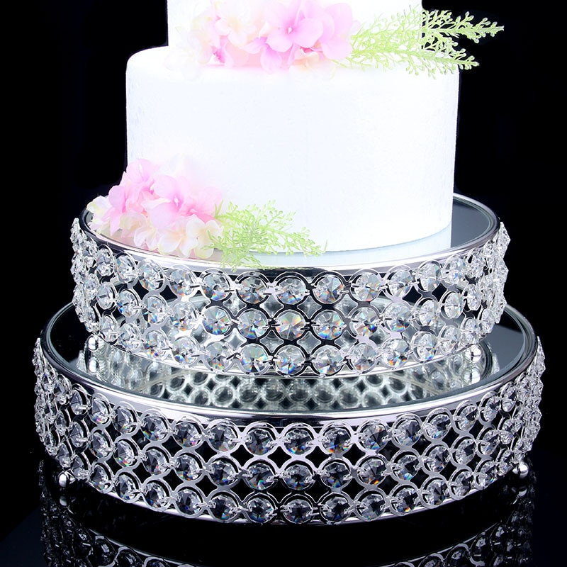 Diameter 25/31cm silver plated round cake pan serving tray metal mirror+crystal fruit plate wedding tray decoration  SNTP037