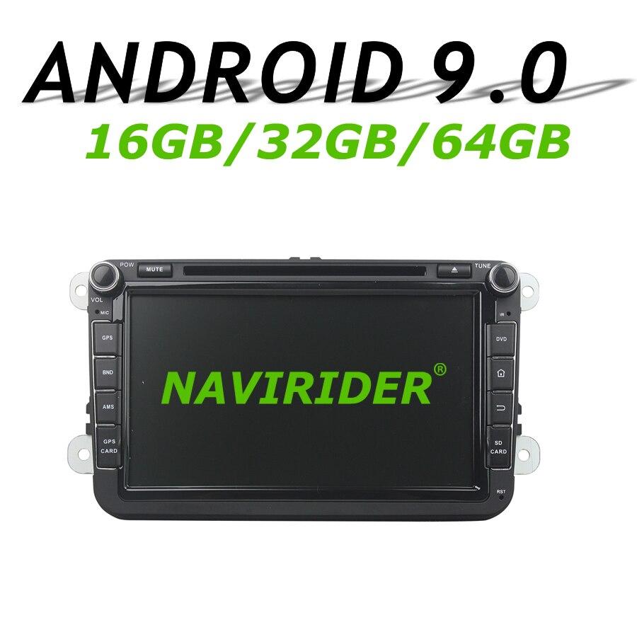 Alta configuración Octa Core Android 9,0 GPS para coche para Caddy Passat CC Sagitar Tiguan Touran Seat CC Polo Golf 2006-2012 DVD radio