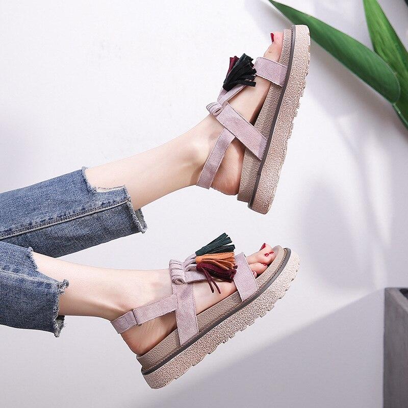 Gtime gladiador de verão dedo do pé aberto tornozelo envoltório plataforma salto médio sandálias escorregar sobre flip flops casual segurança sandálias femininas xjj316