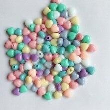 باستيل اللون القلب ورقة جولة حبة مزيج الكثير 100 قطعة مكتنزة الحلوى الخرز الربيع اللون ثقب الأوسط للأطفال مجوهرات صنع مع حفرة