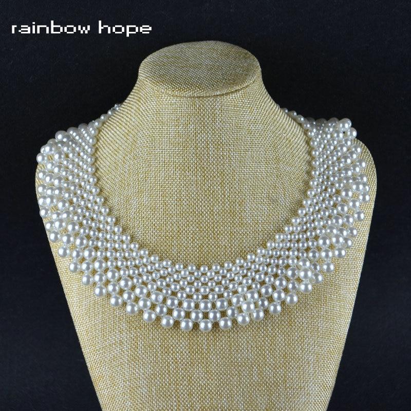 Gargantilla de perlas redondas brillantes variadas de moda, collar de encaje trenzado Romantuc, collares, nueva declaración, joyería de moda para mujeres