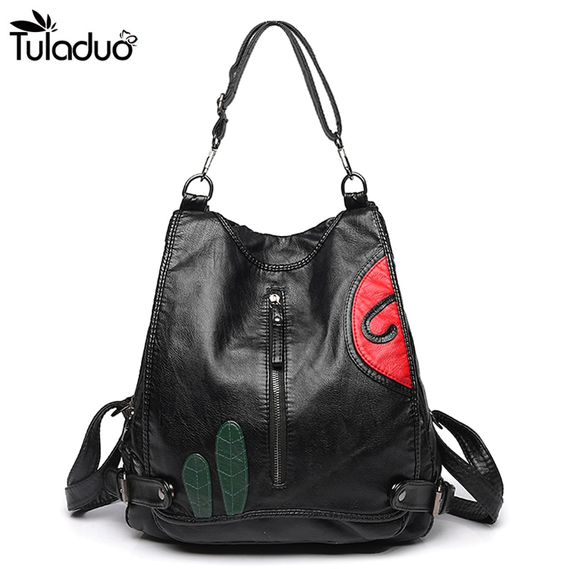 Women Slit Pocket Leather Backpack Zipper School Bags For Teenagers Casual Travel Computer Laptop Bag Black Women Shoulder Bag