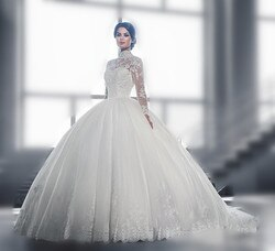 Vintage Alta Long Neck Mangas de Renda Vestidos de Casamento Vestidos de Noiva vestido de Baile de Tule Oco Voltar Applique Tribunal Train Arábia Árabe C
