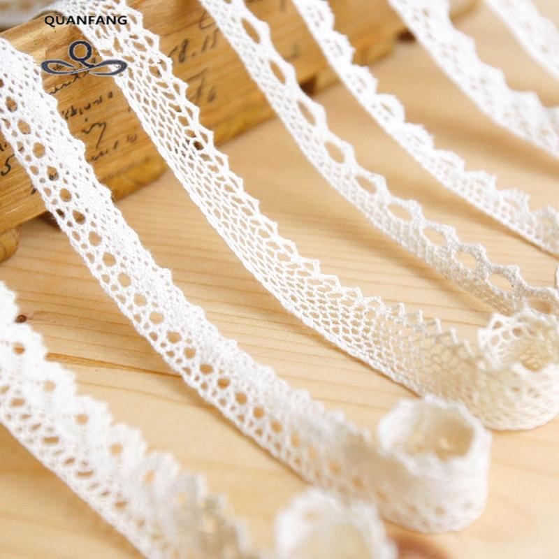 Cinta con encaje de algodón de punto Color Beige, 5 yardas/pieza, DIY hecho a mano, fiesta de boda/artesanía y embalaje de REGALO/vestido de niño/decoración HB001